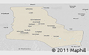 Shaded Relief Panoramic Map of Dhi-Qar, desaturated