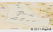 Shaded Relief Panoramic Map of Dhi-Qar, satellite outside