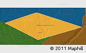 Political 3D Map of IRQ/SAU Neutral Zone, darken