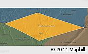 Political 3D Map of IRQ/SAU Neutral Zone, darken, semi-desaturated