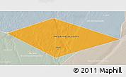Political 3D Map of IRQ/SAU Neutral Zone, lighten, semi-desaturated