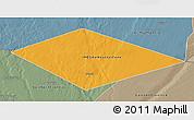 Political 3D Map of IRQ/SAU Neutral Zone, semi-desaturated