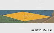 Political Panoramic Map of IRQ/SAU Neutral Zone, darken, semi-desaturated