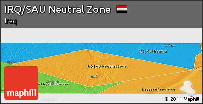Political Panoramic Map of IRQ/SAU Neutral Zone