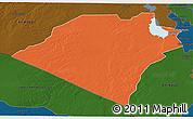Political 3D Map of Karbala, darken