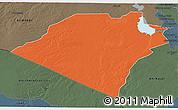 Political 3D Map of Karbala, darken, semi-desaturated