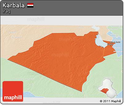 Political 3D Map of Karbala, lighten