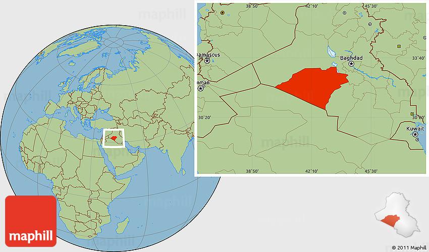 Savanna Style Location Map of Karbala
