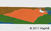 Political Panoramic Map of Karbala, darken