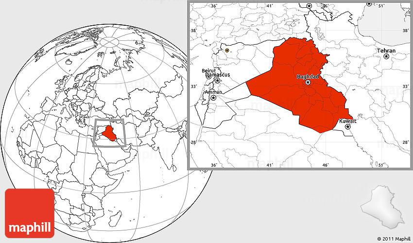 Blank Location Map of Iraq