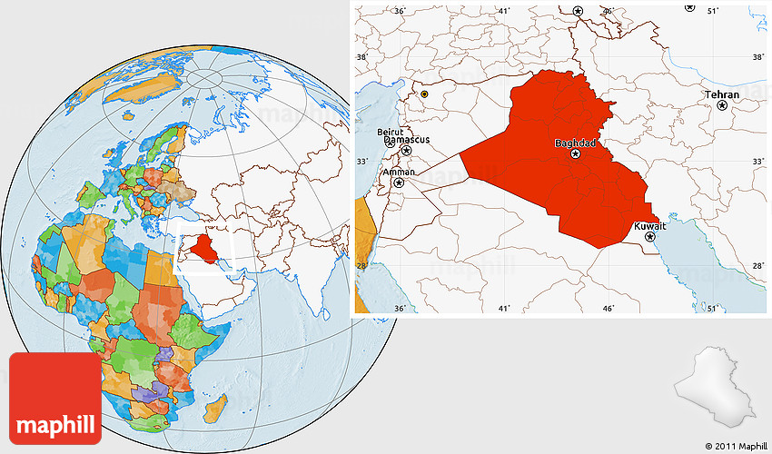 Where Is Iraq Located On The World Map.Political Location Map Of Iraq Highlighted Continent