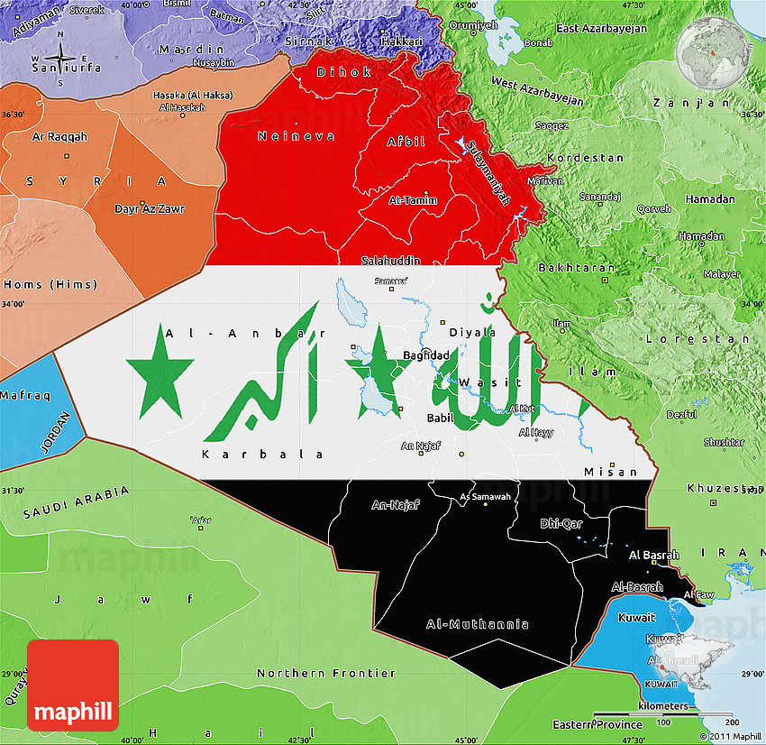 Flag Map of Iraq, political shades outside