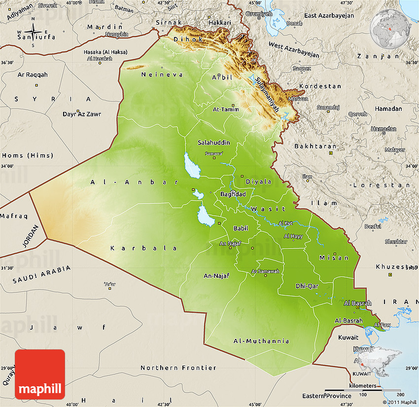 physical map of iraq shaded relief outside