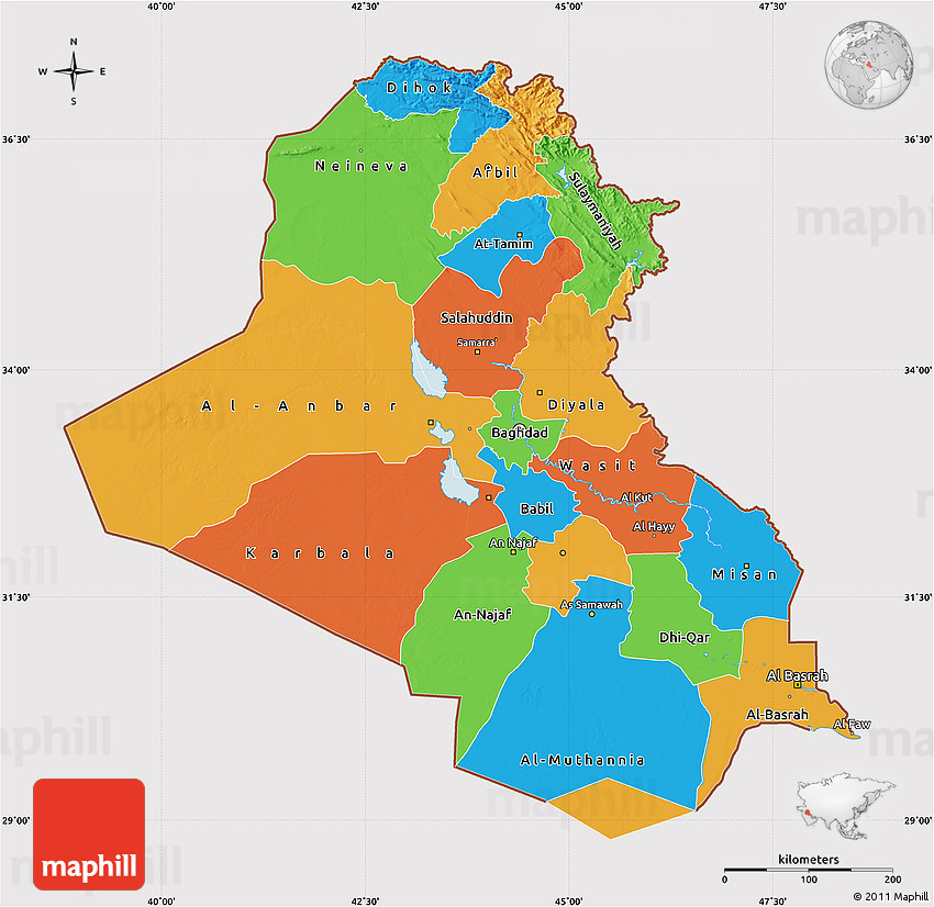 Political Map of Iraq, cropped outside