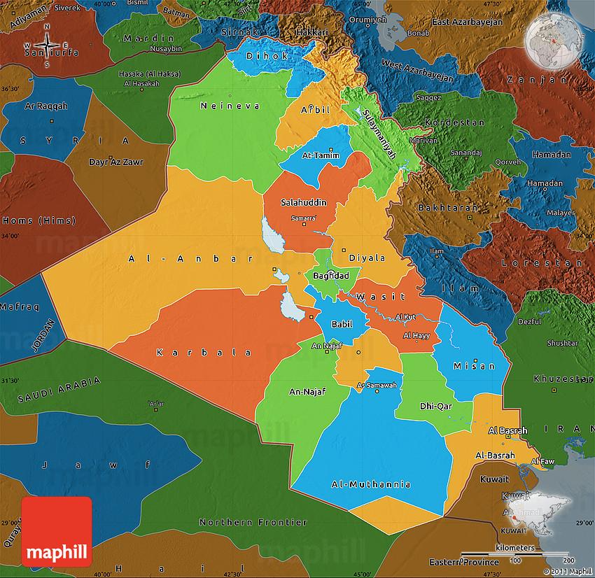 Political Map of Iraq darken