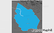 Political 3D Map of Misan, darken, desaturated