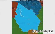 Political 3D Map of Misan, darken