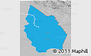 Political 3D Map of Misan, lighten, desaturated