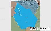 Political 3D Map of Misan, semi-desaturated