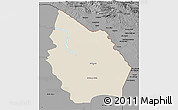Shaded Relief 3D Map of Misan, darken, desaturated