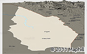 Shaded Relief Panoramic Map of Misan, darken