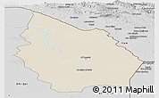 Shaded Relief Panoramic Map of Misan, desaturated