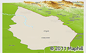 Shaded Relief Panoramic Map of Misan, physical outside