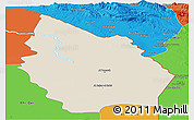 Shaded Relief Panoramic Map of Misan, political outside