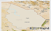 Shaded Relief Panoramic Map of Misan, satellite outside