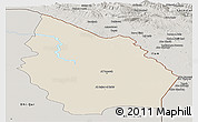 Shaded Relief Panoramic Map of Misan, semi-desaturated