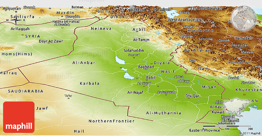 physical panoramic map of iraq