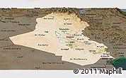 Satellite Panoramic Map of Iraq, darken