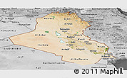 Satellite Panoramic Map of Iraq, desaturated