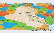 Satellite Panoramic Map of Iraq, political outside