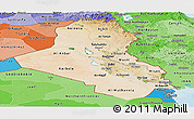 Satellite Panoramic Map of Iraq, political shades outside