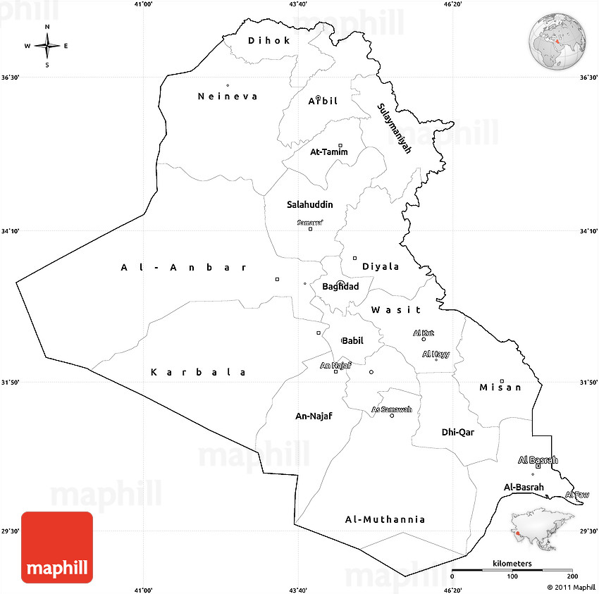 Blank Simple Map Of Iraq Cropped Outside - Iraq map outline