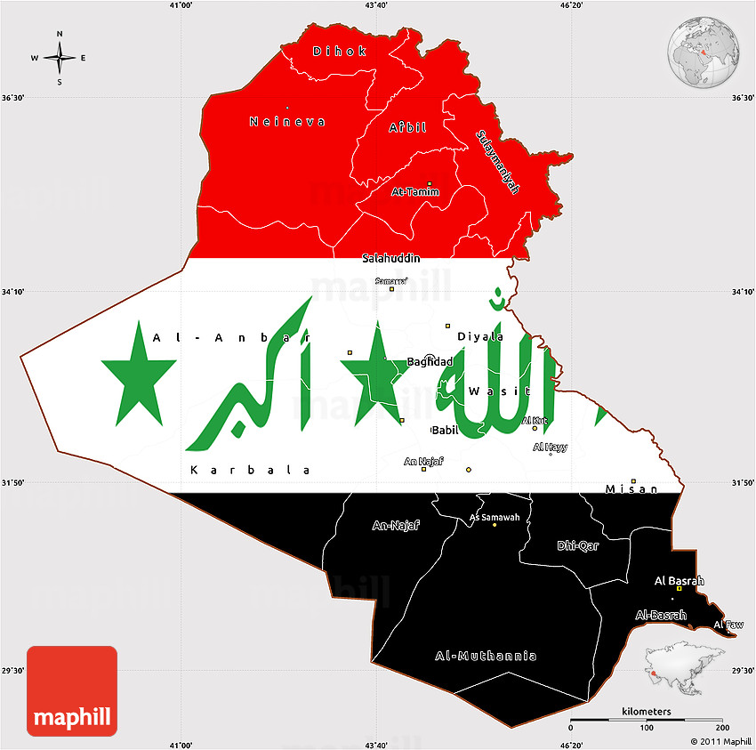 Flag Simple Map of Iraq