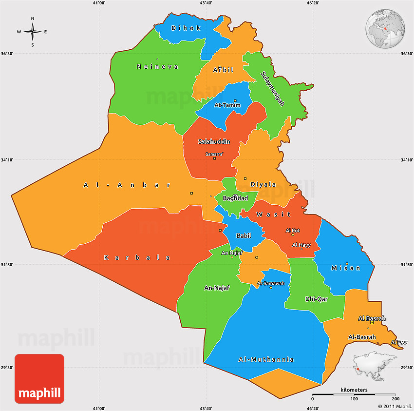 Political simple map of iraq cropped outside 2d gumiabroncs Choice Image