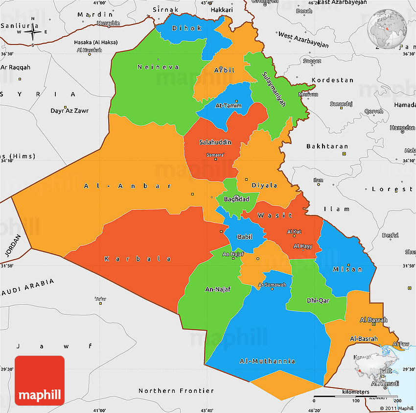 Political Simple Map Of Iraq Single Color Outside Borders And Labels - Map of iraq