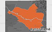 Political 3D Map of Wasit, darken, desaturated