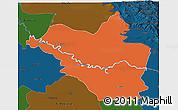 Political 3D Map of Wasit, darken