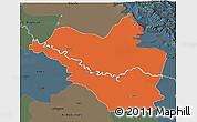 Political 3D Map of Wasit, darken, semi-desaturated