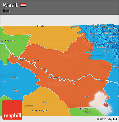 Political 3D Map of Wasit