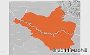 Political 3D Map of Wasit, lighten, desaturated