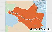 Political 3D Map of Wasit, lighten
