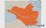 Political 3D Map of Wasit, lighten, semi-desaturated