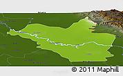 Physical Panoramic Map of Wasit, darken