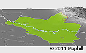 Physical Panoramic Map of Wasit, desaturated