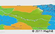 Physical Panoramic Map of Wasit, political outside