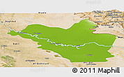 Physical Panoramic Map of Wasit, satellite outside